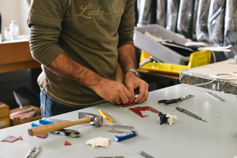 man working at workbench
